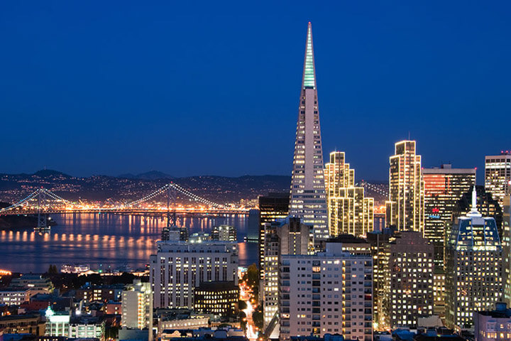 San Francisco Skyline and Transamerica building at night