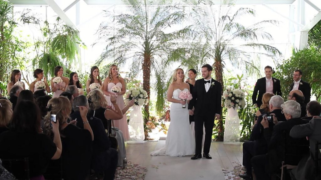 Winter wedding ceremony at Flowerfield in Long Island