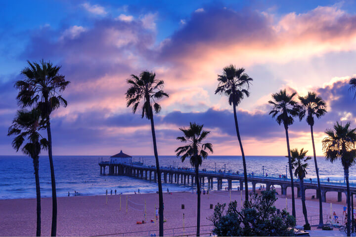 Manhatta Beach, California pier at sunset