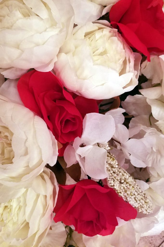 Red roses and white peonies San Francisco wedding