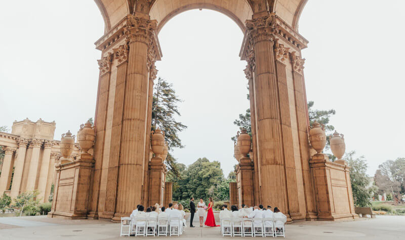 Elopement ceremony at Palace of Fine Arts San Francisco