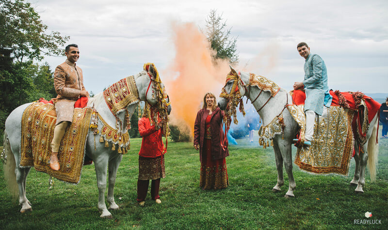 Hindu Christian Sam Sex LGBT Wedding Ceremony Baraat Baraht on white horses